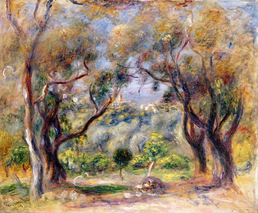Landscape at cagnes renoir and pierre auguste renoir for Paintings by renoir