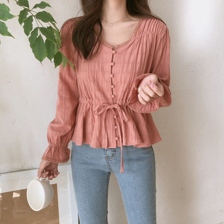 12.6US $ 25% OFF|2021 Autumn Korean Cotton Solid Color Ladies Shirt Casual Long Sleeve Cardigan Blouse Women Vintage Solid Women Tops 9590|Blouses & Shirts|   - AliExpress