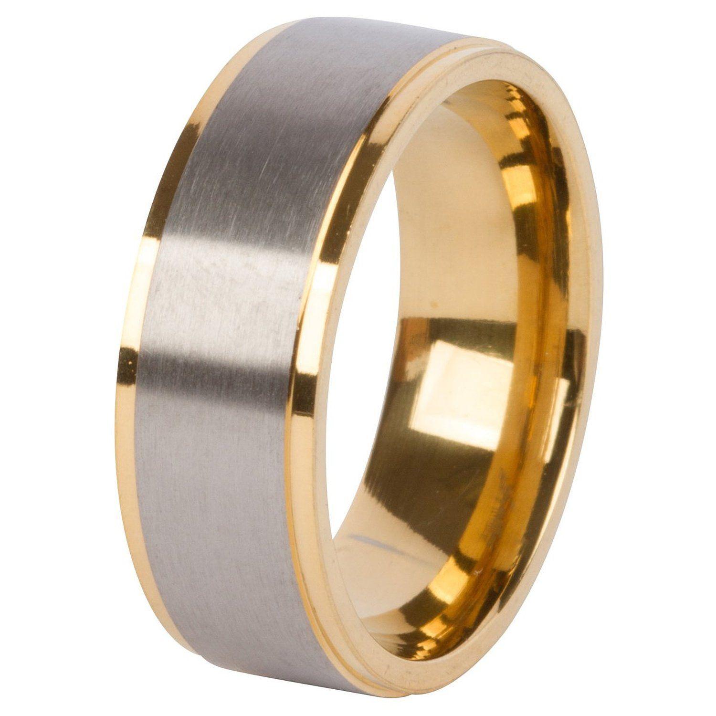 Glytterati Men's Wedding Band in Titanium 8mm with Gold