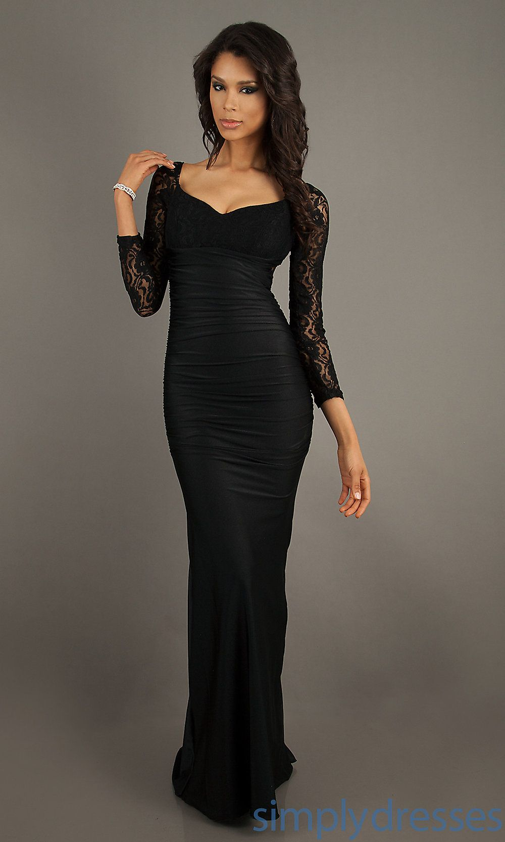Long Sleeve Long Black Dresses