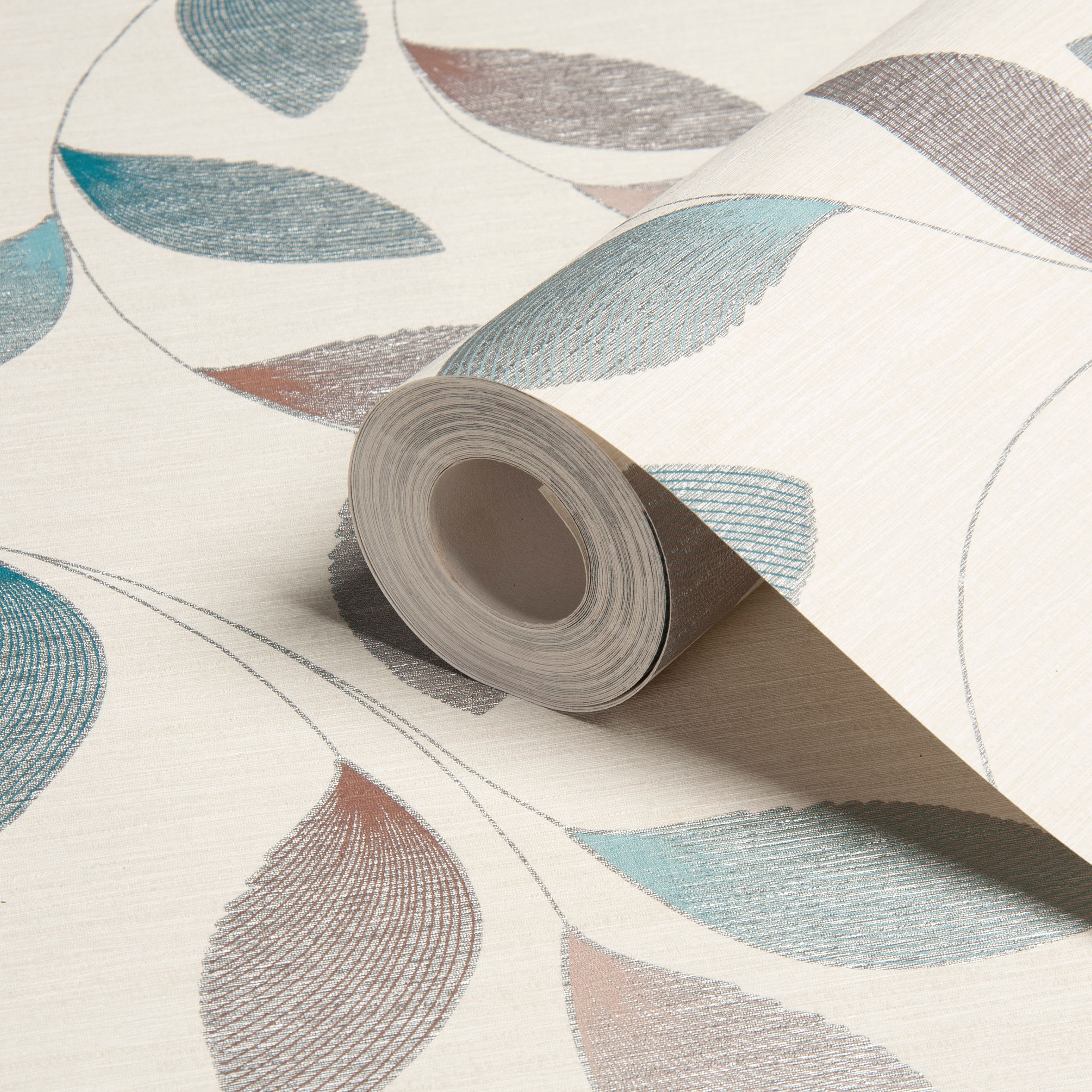 Contour Aurora Wallpaper From B Q: Adrianna Motif Feather Print Brown, Cream & Turquoise