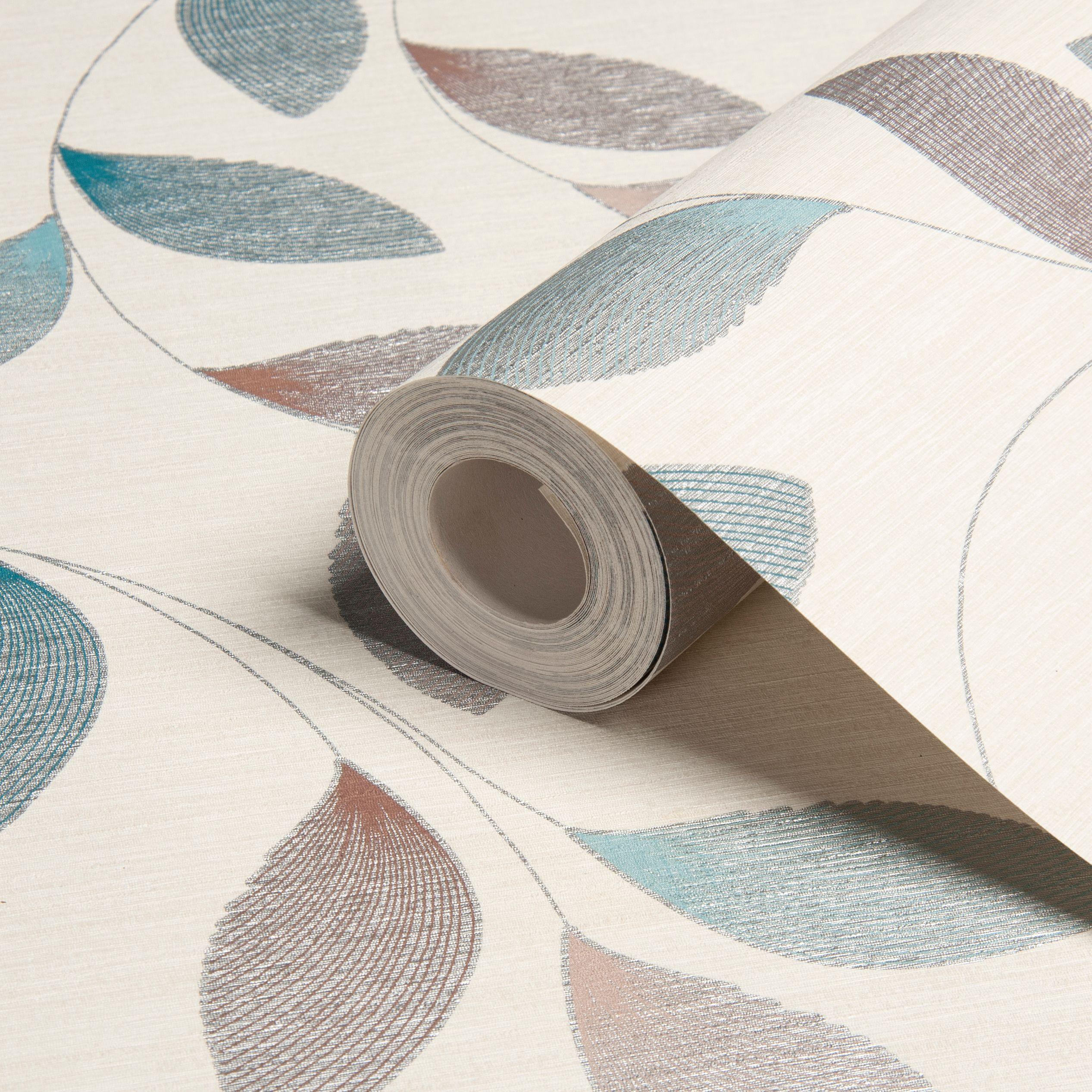 Home diy wallpaper illustration arthouse imagine fern plum motif vinyl - A S Creation Adrianna Motif Brown Cream Turquoise Leaf Wallpaper