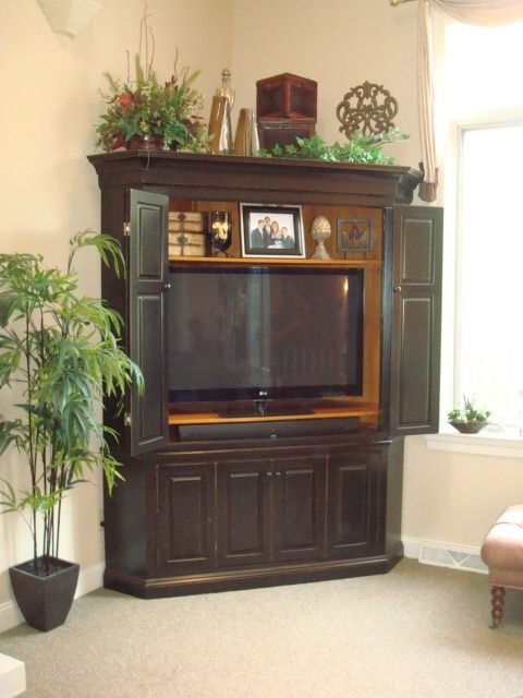 Corner Entertainment Center For Flat Screen TV Hmmmmm This Might Work If We  Switch It Up