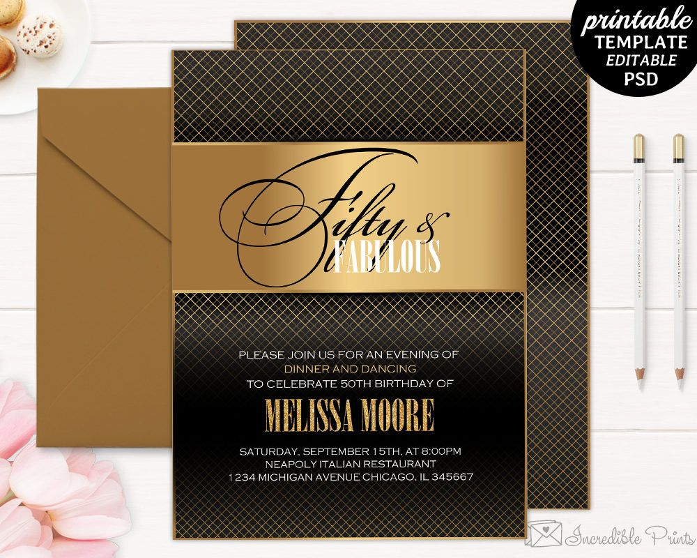 50th Birthday Party Invitation Template Gold Luxury Black By