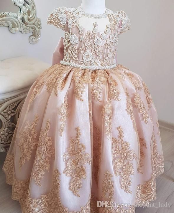 Ariana Baby Flower Girl Dress Formal Lace Peach Gown Birthday Party Bridesmaid