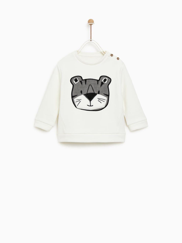 Sweatshirt With Tiger Patch Ropa De Moda Para Bebe Nina Ropa Para Ninas Ropa Bebe Nina [ 1370 x 1024 Pixel ]
