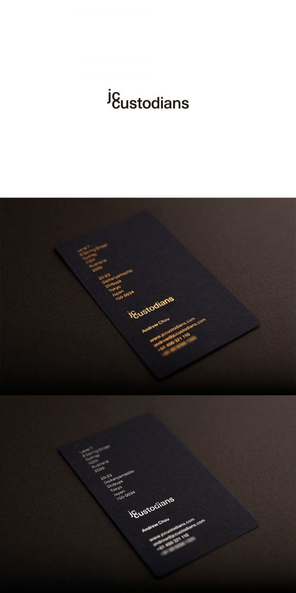 jc custodians logo, business card & letterhead design art direction & design: kunitaka kawashimo date: June 11, 2015 Paper Color: Indigo (Japanese Blue) Specification: Japanese Gold & Silver Tiltling + Emboss Typeface: Sans-serif created by a Japanese Designer Design Concept: Less is More (Maximum Return with Less Investment) Design Element: Space + Typography - Simple, Unique, Modern & Different