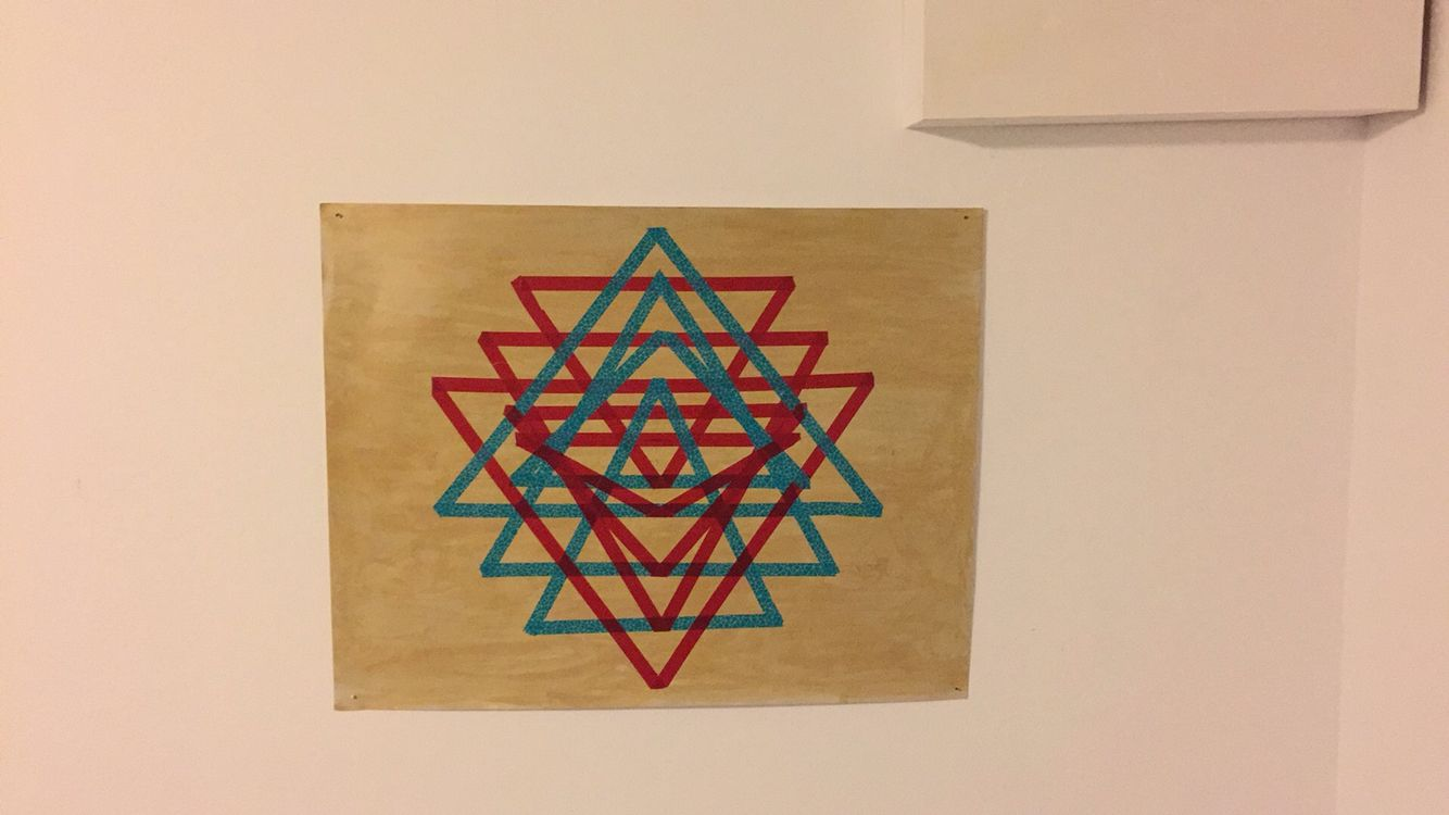 Sri yantra poster with washi tape