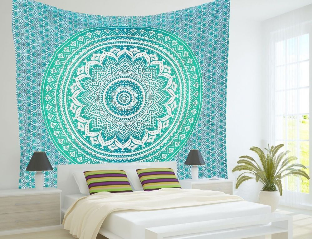 Indian Mandala Tapestry Hippie Bohemian Bedding Bedspread Wall Hanging Twin Size
