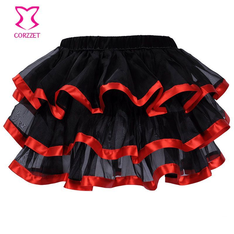 Corset Tutu Skirt,M XL XXL,Women Satin 3 Layers black with red /whtie /pink /blue Edge Mini Novelty Burlesque Skirts,Clubwear Alternative Measures