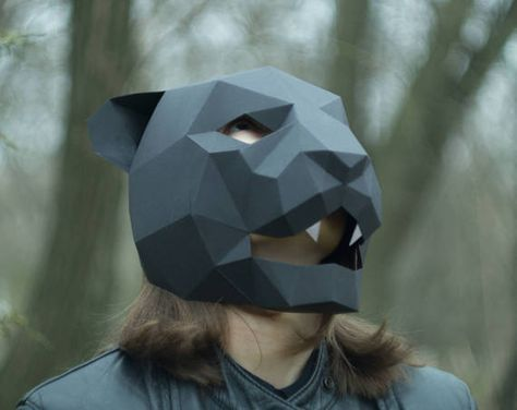 Panther Mask,Cat Mask,DIY 3D mask,PDF,Polygon Paper Mask,Template - paper face mask template