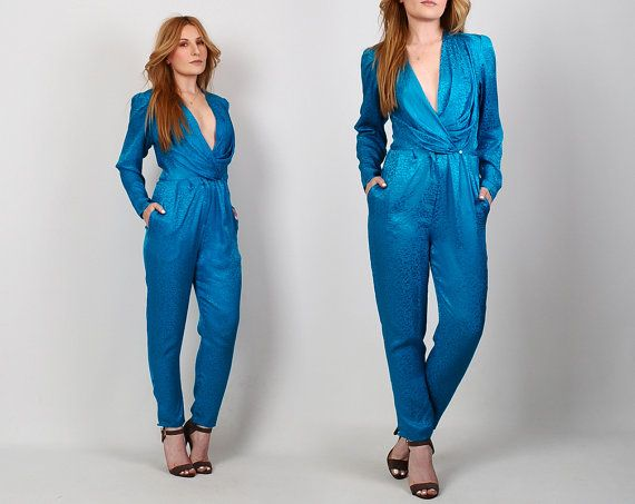 vintage SILK turquoise Jumpsuit XS deep V plunging puff sleeve blue teal 80s