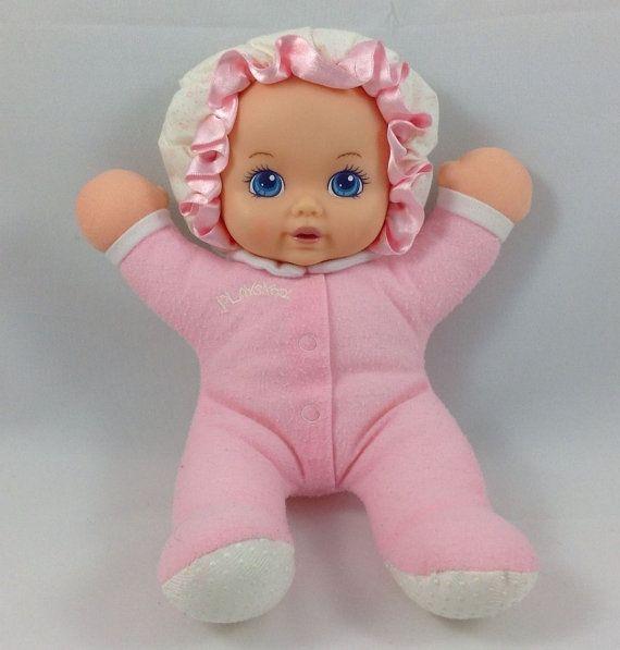Playskool My Very Soft Baby 10 90s Pink Lovey Doll Squeaks