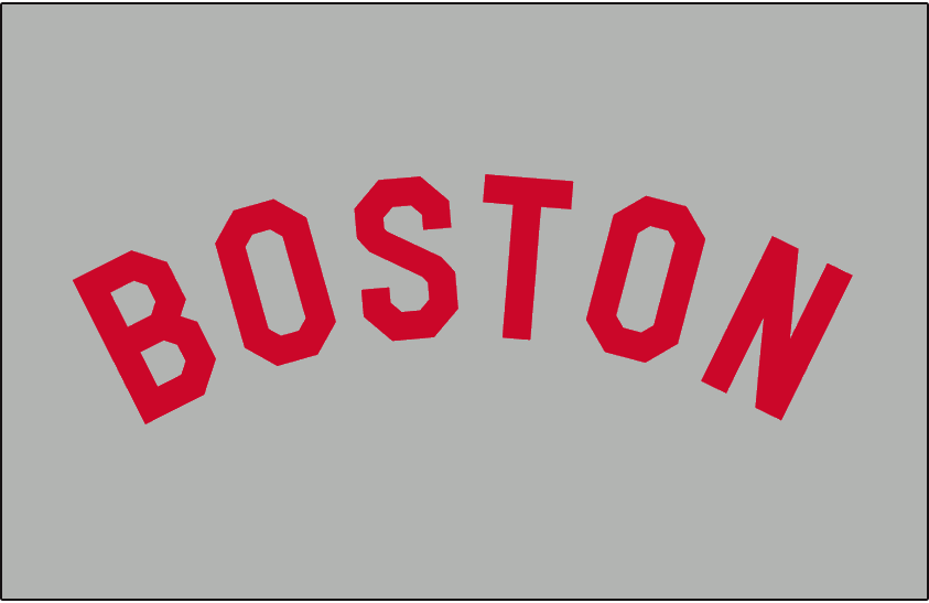 6f2a5fa90 Boston Red Sox Jersey Logo (1909) - 'Boston' arched and written in a red  sans-serifed font on grey - worn on Boston Red Sox road jersey from 1909 to  1911
