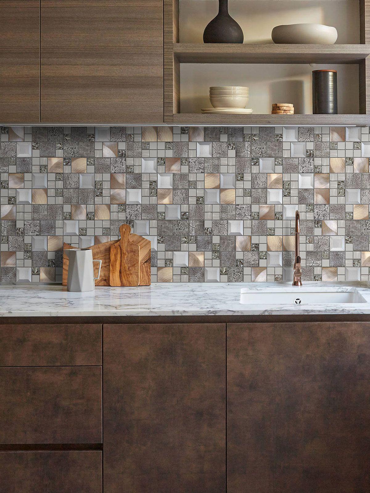 Glass Metal Gray Copper Mosaic Backsplash Tile Backsplash Com
