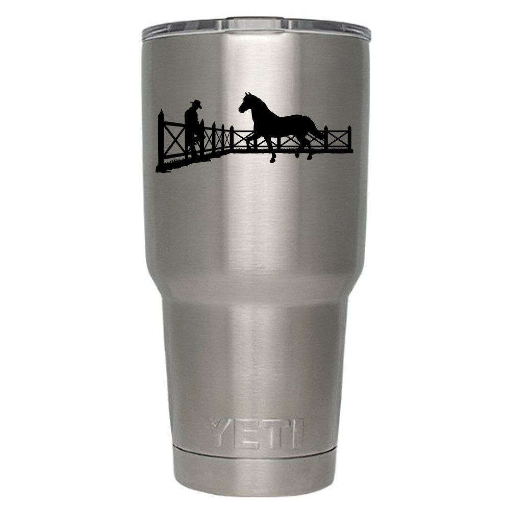 YETI 30 oz Rambler Tumbler Cow Boy and Hourse Laser Etched