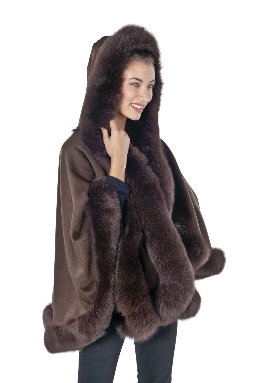 5b785922b8439 Plus size women's capes, wraps, ponchos,and shawls | ... Hooded Cape Fox  Trim-Plus | Plus Size Capes & Wraps | OneStopPlus
