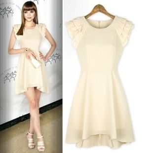 Ivories Quality flounced Cap Sleeve Irregular Hem Chiffon Tiny Dress