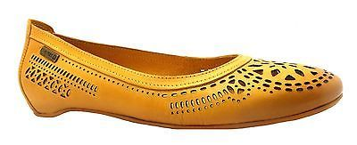 PIKOLINOS WOMEN'S 894-9844N YELLOW CUT OUT LEATHER BALLERINA STYLE PUMPS NEW