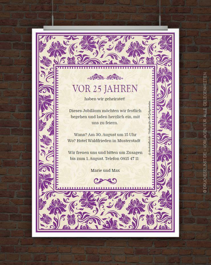 Drucke Selbst Elegante Einladung Zur Silberhochzeit Kostenlos Zum Ausdrucken Elegante Einladungen Einladung Silberhochzeit Silberhochzeit