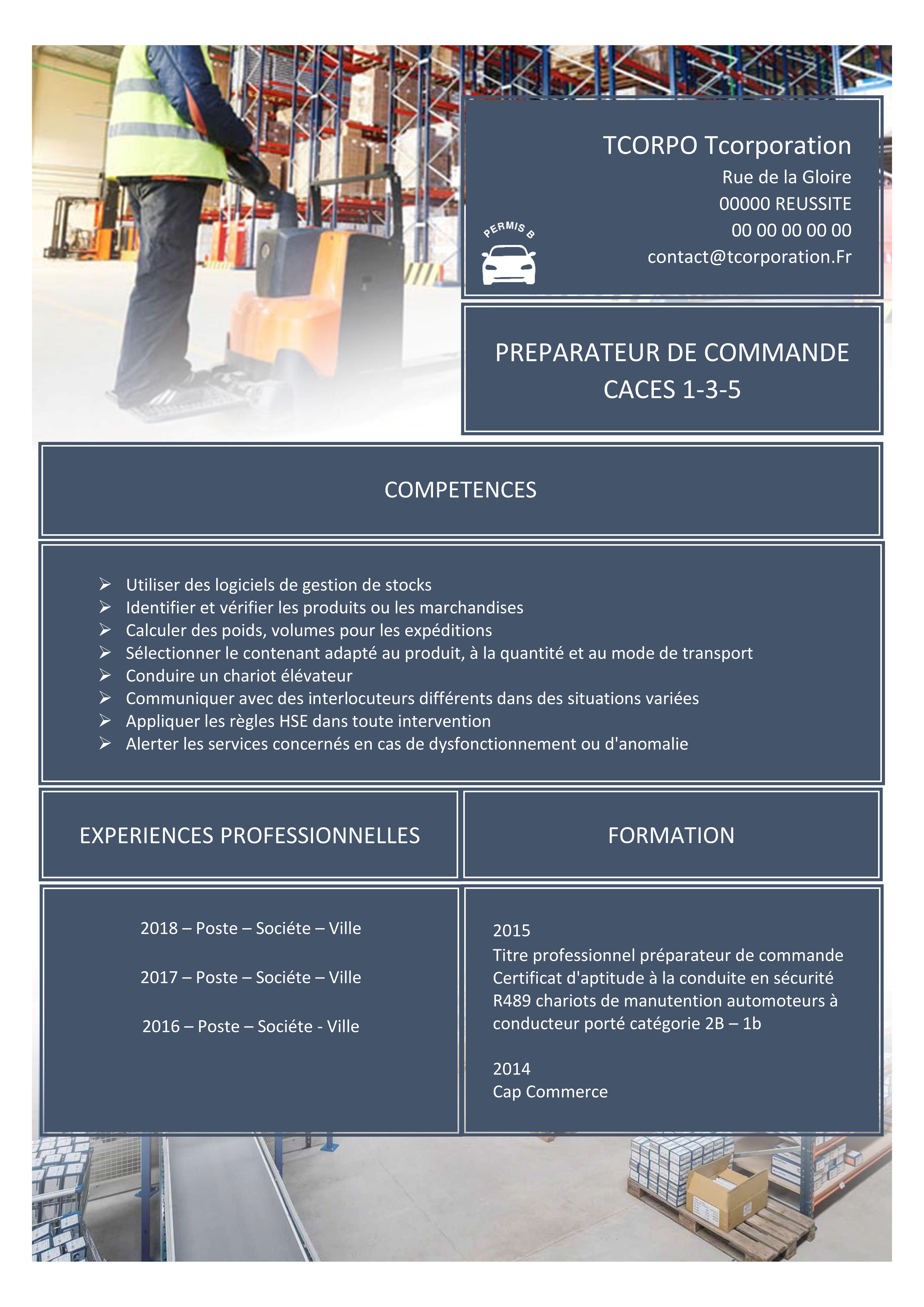 Preparateur De Commande Cv Experiences Professionnelles Formations Competences Logiciel De Gestion Microsoft Office 365 Microsoft Office