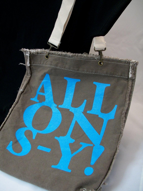 ALLONS - Y Raggedy Edge Brown Canvas Shoulder Bag. $24.00 USD, via Etsy. WANT.