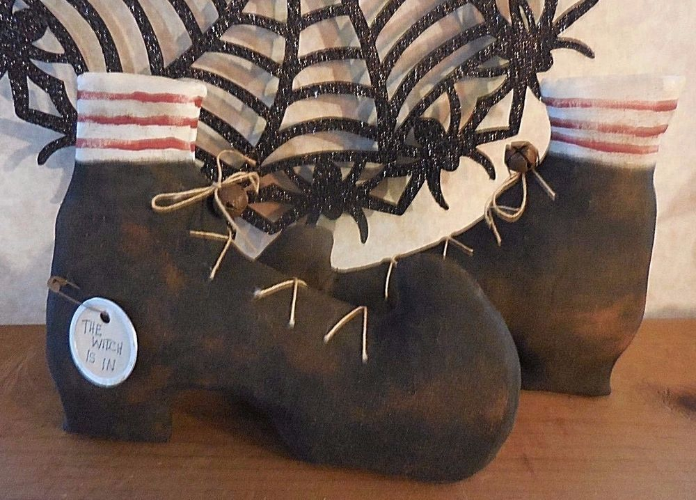 Primitive Halloween Folk Art Witch Shoes Boots The Witch Is In Home Decor