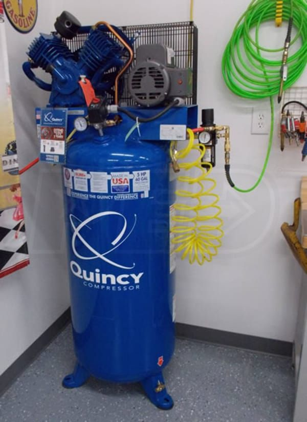 Quincy 2v41c60vc Qt 54 Pro 5 Hp 60 Gallon Two Stage Air Compressor 230v 1 Phase Two Stage Air Compressor Compressor Air Compressor