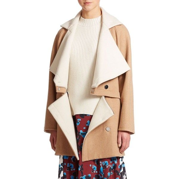 Tanya Taylor Bernadette Convertible Stretch-Wool Coat (20 765 ZAR) ❤ liked on Polyvore featuring outerwear, coats, apparel & accessories, cropped coat, white coat, long coat and long white coat