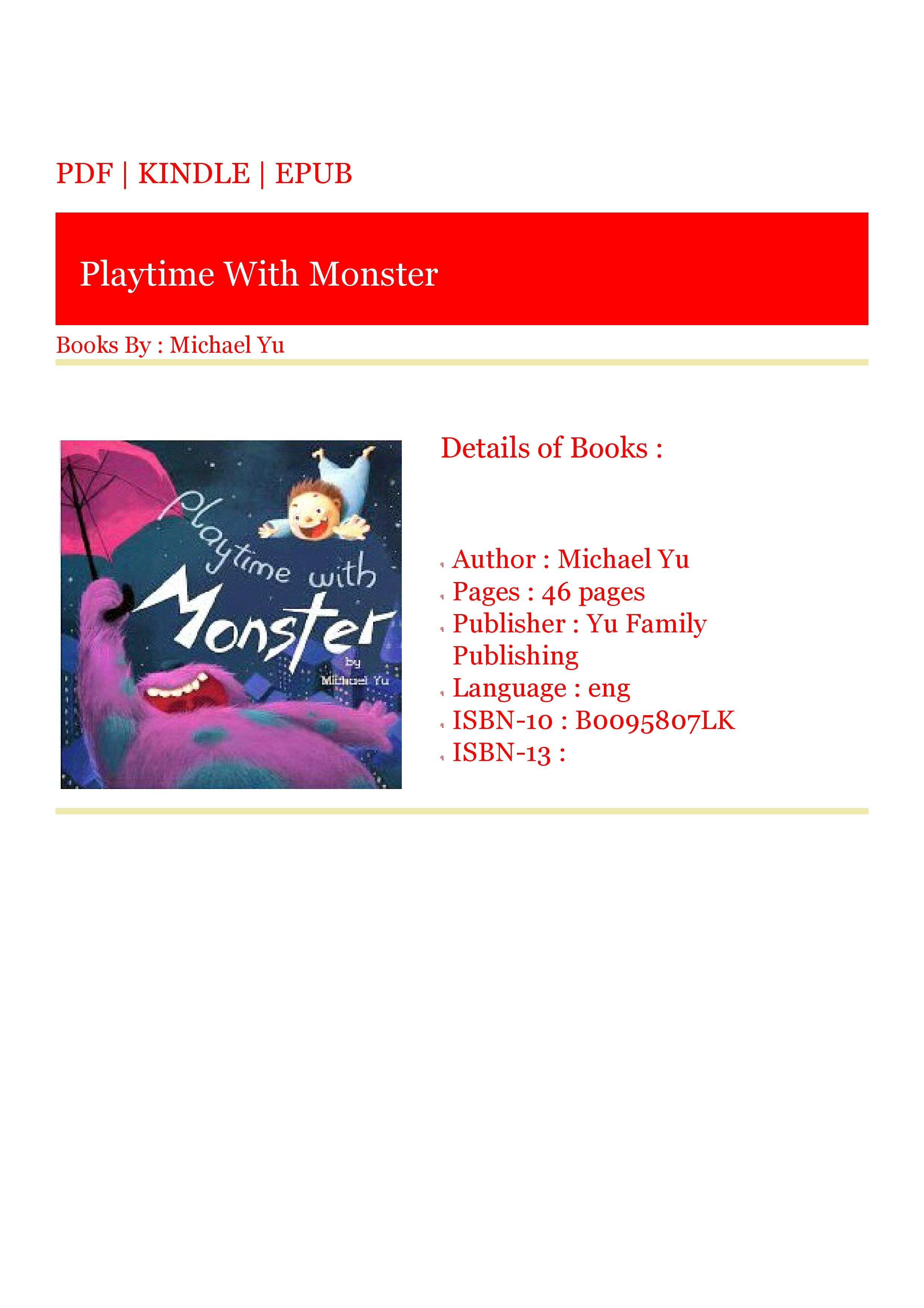 Get) Books Playtime With Monster in 2020 Got books