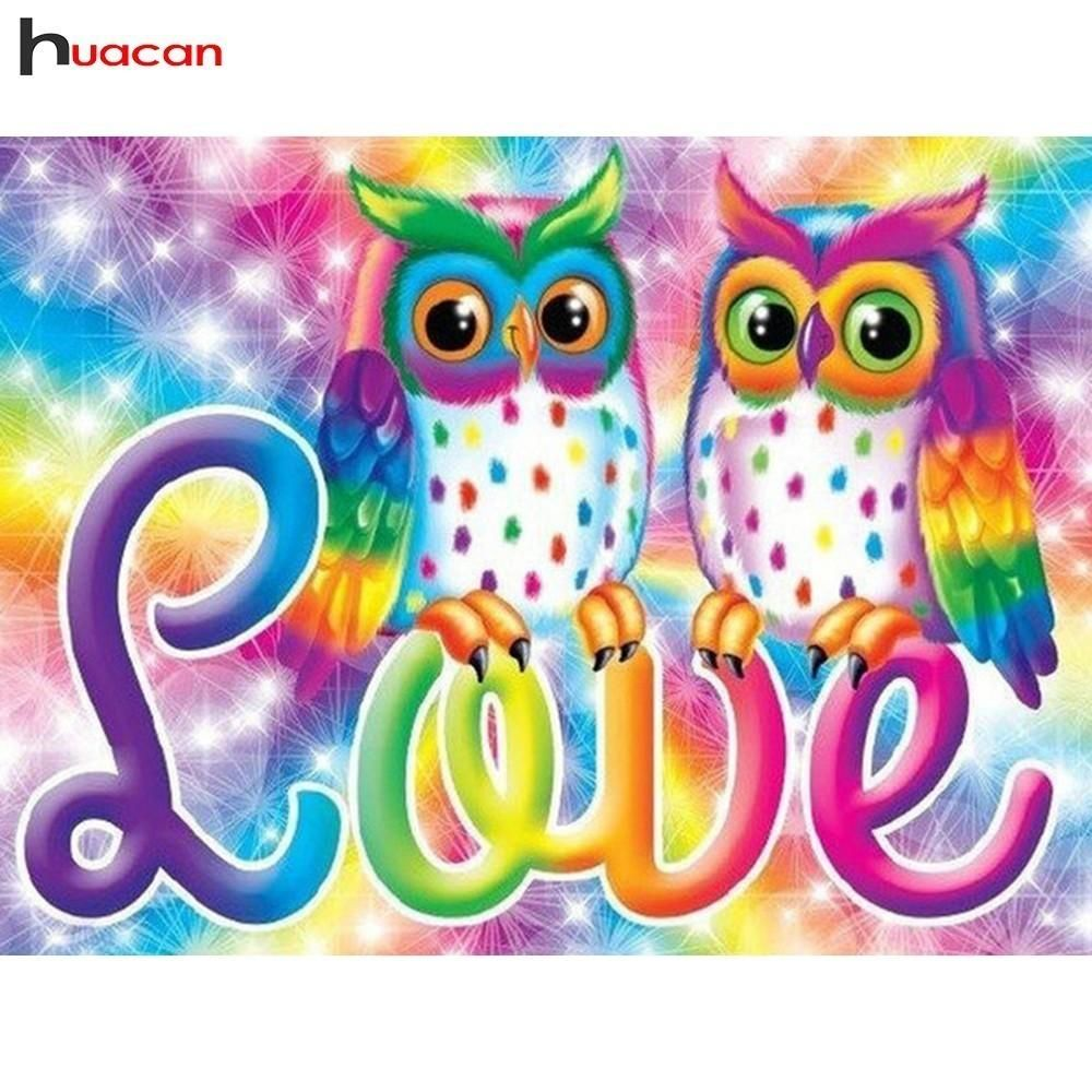 5d diy diamond painting rainbow love owls