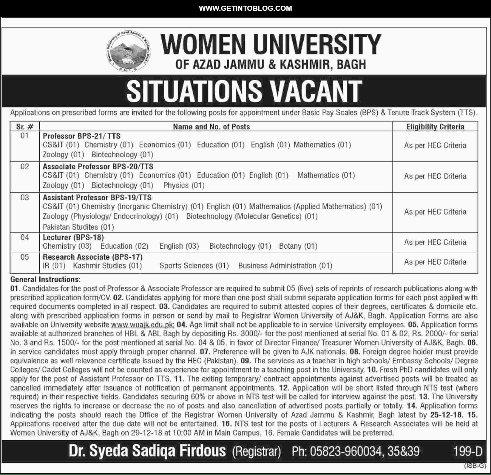 Bagh AJK University Jobs 2018 13 December Job, Jobs in
