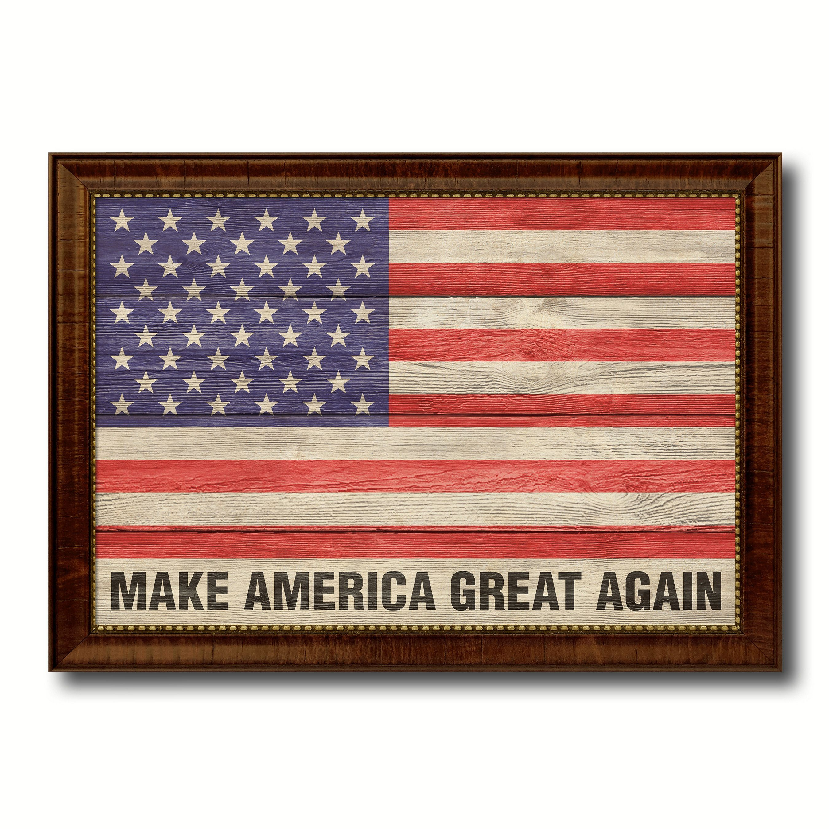 Make America Great Again USA Flag Texture Canvas Print with Brown ...