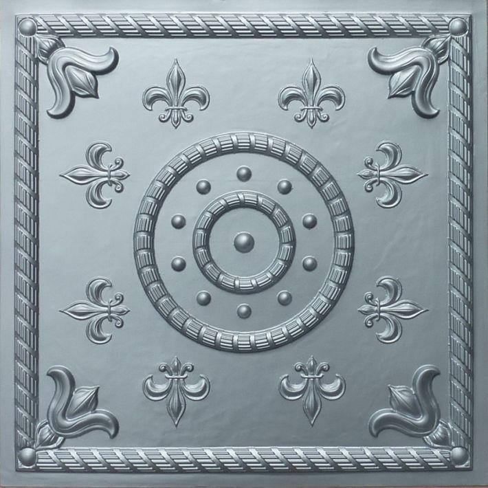 Faux Tin Ceiling Tile 27 Fleur De Lis Design In Silver 899 For