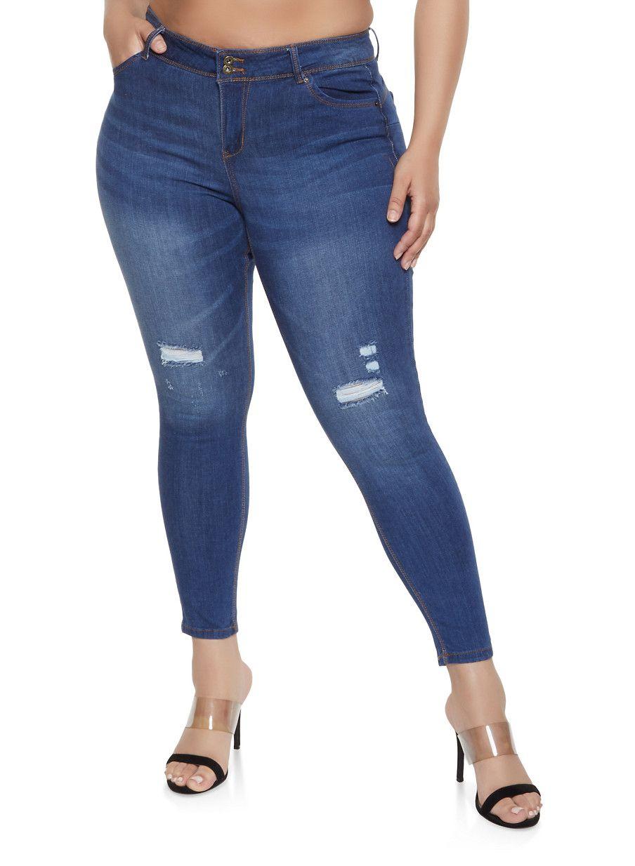 587bb55f46e68 Plus Size WAX 2 Button Distressed Jeans - MEDIUM WASH - Size 20