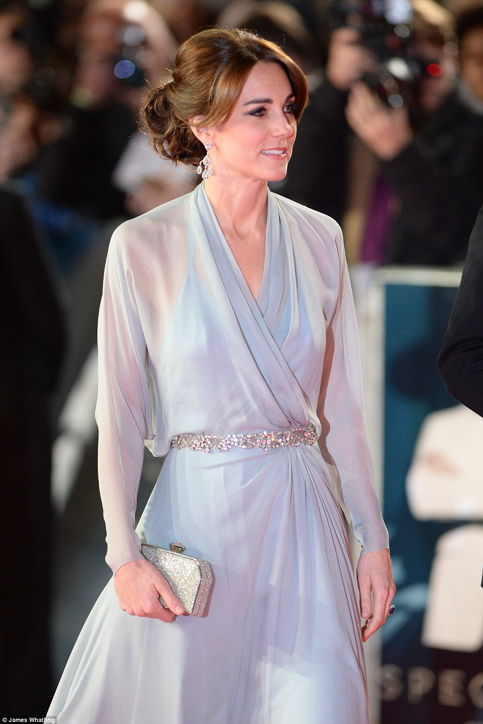 01 Duchess of Cambridge goes in pale blue floor-length Jenny Packham gown and diamond accessories at the world premiere of Spectre