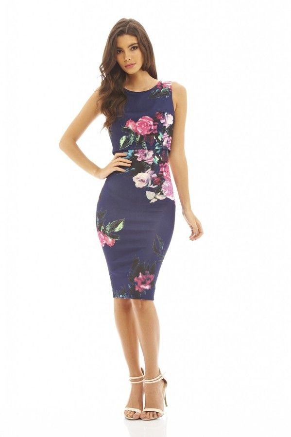 Cropped Overlay Floral Bodycon Dress