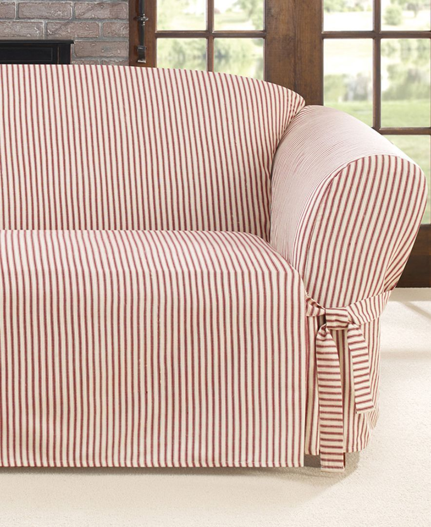 Etonnant Simple And Streamlined, The Ticking Stripe Sofa Slipcover From Sure Fit  Provides A Classic Look Fit For Traditional And Contemporary Interiors  Alike.
