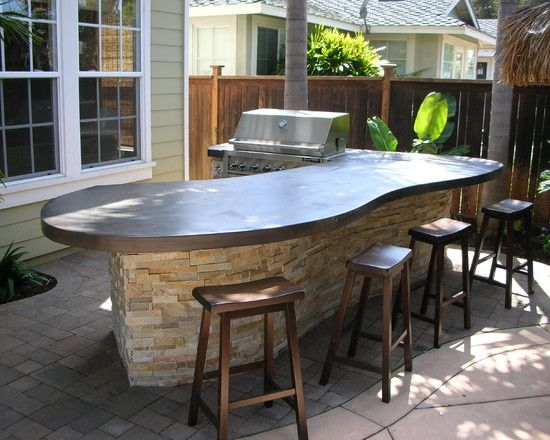Concrete Countertops Design Ideas Pictures Remodel And Decor Outdoor Remodel Built In Bbq Backyard Kitchen