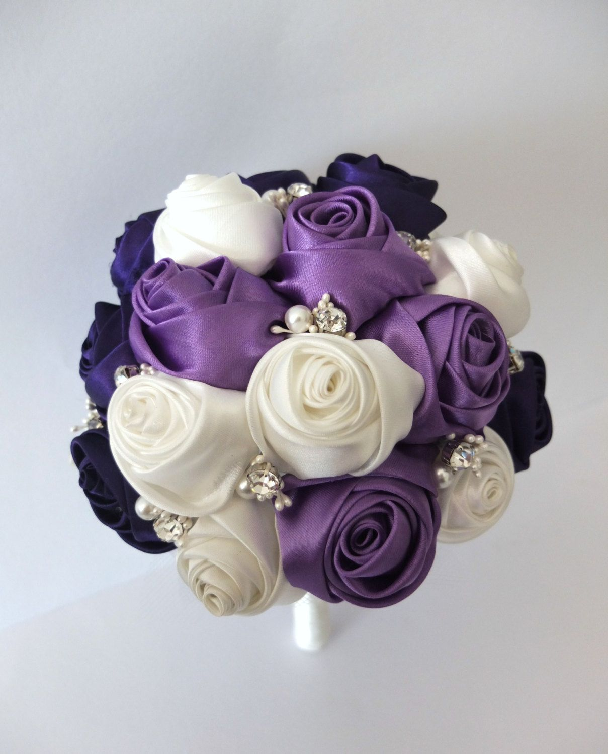 Handmade Ribbon Rose Bouquet- Purple & Ivory Flower accented with ...