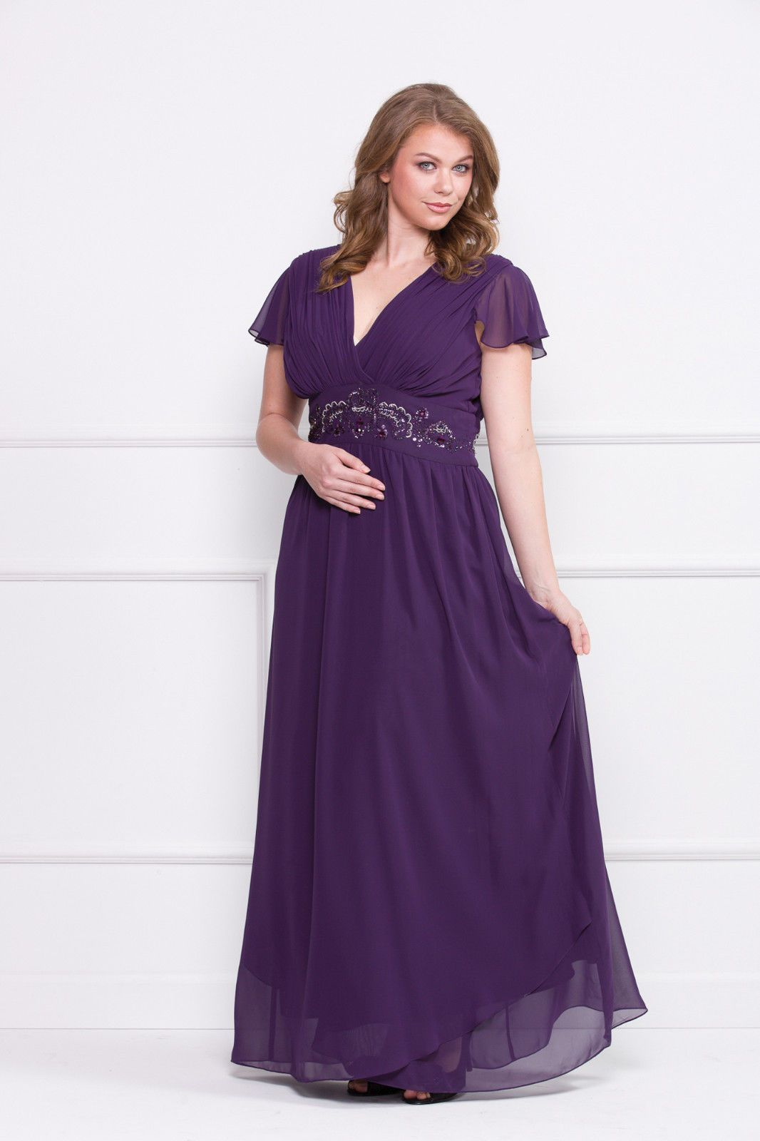 3b74a83cc26 Long Plus Size Plum Color Formal Dress Short Sleeves Chiffon Mother of the  Bride On Sale Now