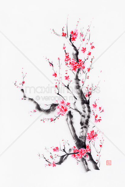 Image Of Bright Bushy Sakura Tree With Pink And Red Flowers Sumi E Ink Painting Stock Image Mxi31669 Sakura Tree Sakura Art Sakura Tattoo