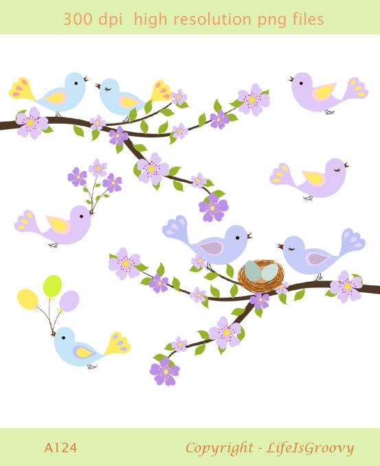 love birds with spring flowering tree branch lavender lilac purple blue blossoms and cute nest A124 - unique clipart. $5.95, via Etsy.