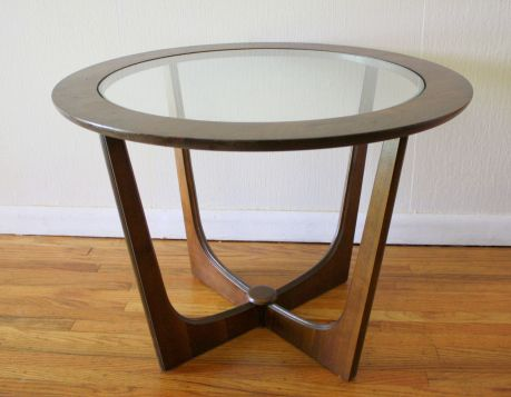 Mid Century Modern Round Cross Base Side Table With Gl Insert