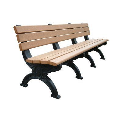 Outdoor Polly Products Silhouette Recycled Plastic Backed Bench Black - ASM-SB8B-01-BLACK FRAME-BLACK TOP