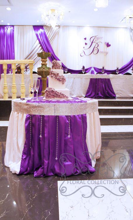 Silver Secrets Floral Collection Purple Wedding Cake Table Wedding Cake Table Decorations Silver Wedding Reception Decor