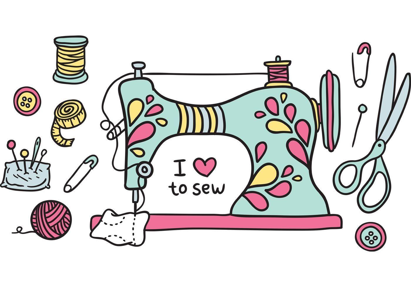 Free Vintage Sewing Machine Vector Nahen Kunst Sticken Mit Der Nahmaschine Kawaii Zeichnungen