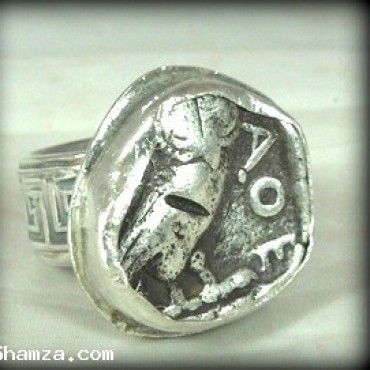 Athena Owl Ancient Coin Ring