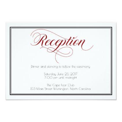 Red Graceful Script Wedding Reception Card Zazzle Wedding