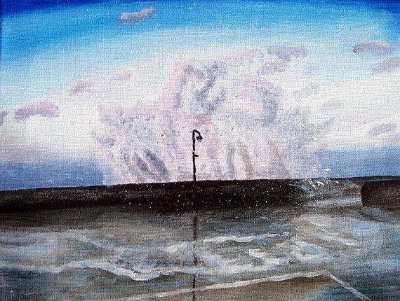 Seaside big waves Original Painting on Canvas by MarisaOriginalArt, £20.00
